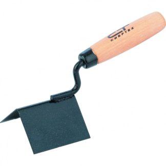 Кельма угловая, 80 х 60 х 60 мм, стальная, для внешних углов, буковая ручка Сибртех