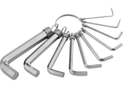 Набор ключей имбусовых HEX, 1,5-10 мм, CrV, 10 шт, никелированный, на кольце Sparta
