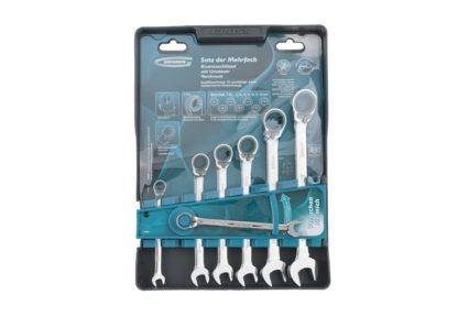 Набор ключей комбинированных с трещоткой, 8-19 мм, 7 шт, реверсивные, CrV Gross