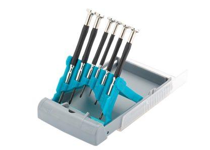 Набор отверток для точной механики, CrMo, металлические обрезиненные рукоятки, 6 шт, бокс трансформер Gross