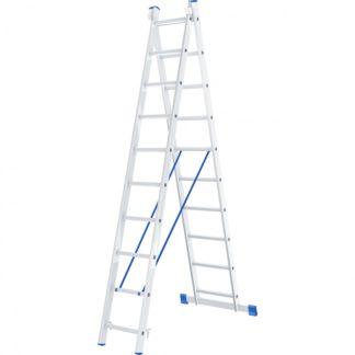 Лестница, 2 х 10 ступеней, алюминиевая, двухсекционная, Россия, Сибртех