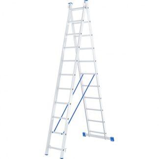 Лестница, 2 х 11 ступеней, алюминиевая, двухсекционная, Россия, Сибртех