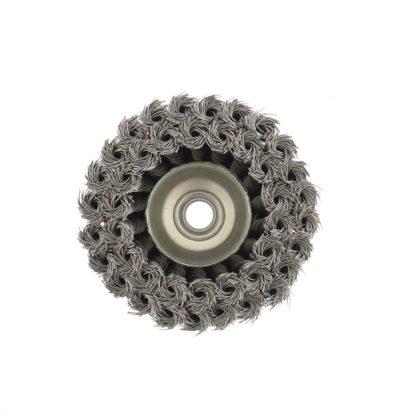 """Щетка для УШМ, 100 мм, М14, """"чашка"""", двухрядная, крученая проволока 0,5 мм Matrix"""