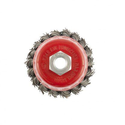 """Щетка для УШМ, 75 мм, М14, """"чашка"""", двухрядная, крученая проволока 0,8 мм Matrix"""