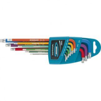 Набор ключей имбусовых TORX-TT, 9 шт: T10-T50, магнит, S2, экстра-длинные, хром/краска 9 шт Gross