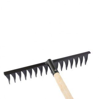 Грабли стальные, 420 х 1300 мм, 16 витых зубьев, деревянный черенок, Россия Сибртех