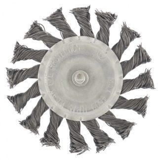 Щетка для дрели, 100 мм, плоская со шпилькой, крученая металлическая проволока Сибртех