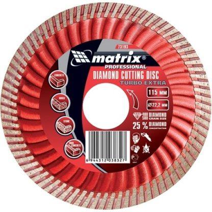 Диск алмазный, отрезной Turbo Extra, 180 х 22,2 мм, сухая резка Matrix Professional