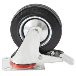 Колесо поворотное с тормозом D 160 мм, крепление платформенное Сибртех