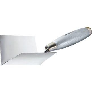 Мастерок из нержавеющей стали, 80 х 60 х 60 мм, для внутренних углов, деревянная ручка Matrix