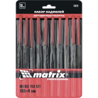 Набор надфилей, 160 х 4 мм, 10 шт, обрезиненные рукоятки Matrix