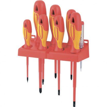 Набор отверток диэлектрических до 1000 В, 8 шт, тестер, CrMo, двухкомпонентные рукоятки Gross
