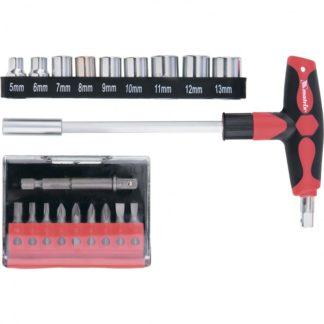 Отвертка с Т-образной эргономичной ручкой, набором бит и насадок, 20 шт, CrV Matrix