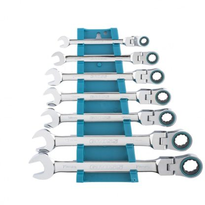 Набор ключей комбинированных с трещоткой, 8-19 мм, 7 шт, шарнирные, CrV Gross