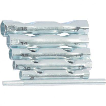 Набор ключей-трубок торцевых, 8 х 17 мм, вороток, оцинкованные, 6 шт, Sparta