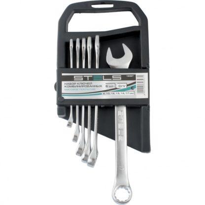 Набор ключей комбинированных, 8-17 мм, 6 шт, CrV, матовый хром Stels