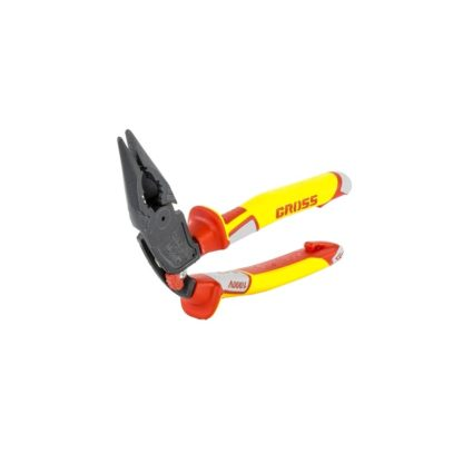 Длинногубцы с изогнутой головой, комбинированные, диэлектрические рукоятки до 1000 В, 200 мм Gross