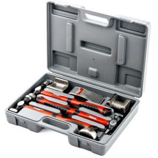 Набор рихтовочный, 3 молотка с фибергласовыми ручками, 4 наковальни, пластиковый бокс Matrix