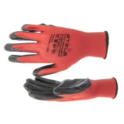 Перчатки полиэфирные с черным нитрильным покрытием маслобензостойкие, L, 15 класс вязки Stels