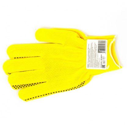Перчатки Нейлон, ПВХ точка, 13 класс, цвет лимон, L Россия