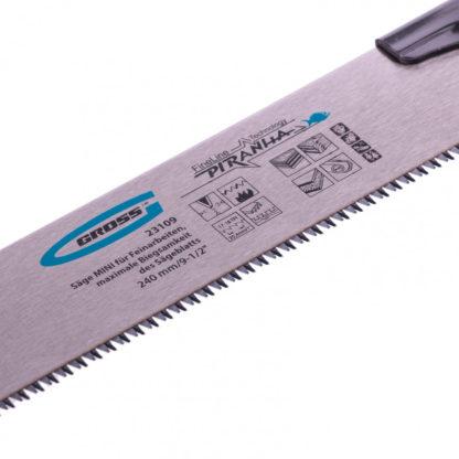 Пила МИНИ для тонких работ Piranha, 240 мм, 17-18 TPI, каленый зуб 3D, сменное полотно Gross