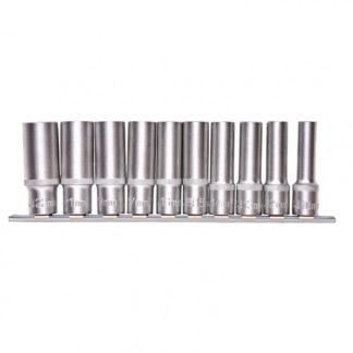 Набор удлиненных торцевых головок 1/2″, шестигранные, CrV, 10 шт., 10-22 мм Stels