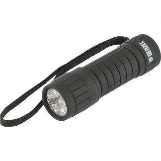 Фонарь светодиодный, черный корпус с мягким покрытием, 9 Led, 3хААА Denzel