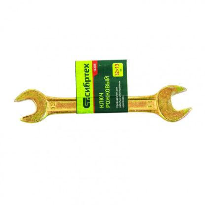 Ключ рожковый, 12 х 13 мм, желтый цинк Сибртех