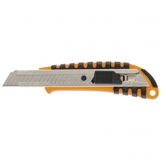 Нож, 18 мм, выдвижное лезвие, металлическая направляющая, пластиковый двухкомпонентный корпус Sparta
