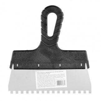 Шпатель из нержавеющей стали, 200 мм, зуб 6 х 6 мм, пластмассовая ручка Sparta