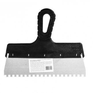 Шпатель из нержавеющей стали, 250 мм, зуб 6 х 6 мм, пластмассовая ручка Sparta