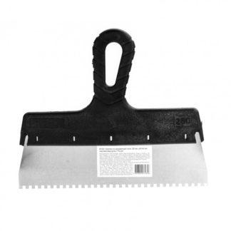 Шпатель из нержавеющей стали, 250 мм, зуб 4 х 4 мм, пластмассовая ручка Sparta
