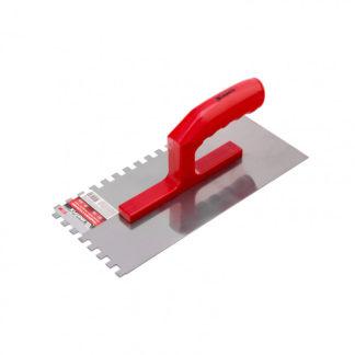 Гладилка стальная, 280 x 130 мм, зеркальная полировка, пластмастмассовая ручка, зуб 10 x 10 мм Matrix