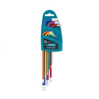 Набор ключей имбусовых HEX, 1,5-10 мм, S2, 9 шт, магнит, экстра-длинные с шаром, хром/краска Gross
