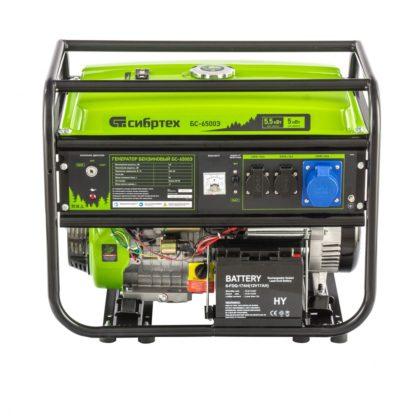 Генератор бензиновый Сибртех БС-6500Э, 5,5 кВт, 230В, четырехтактный, 25 л, электростартер