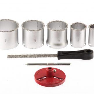 Набор коронок по керамической плитке, 33-53-67-73-83 мм, напил, в пластиковом боксе, шестигранный хвостовик Matrix
