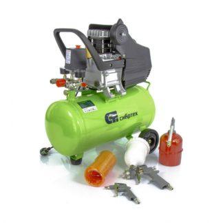 Компрессор с набором КК-1500/24 ПЛЮС, 1,5 кВт, 198 л/мин, 24 л, прямой привод, масляный Сибртех