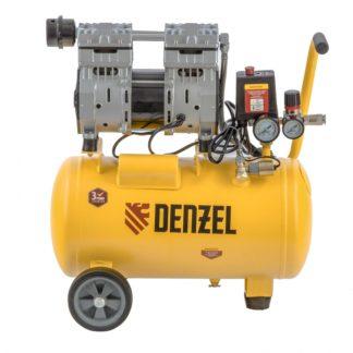 Компрессор Denzel DLS950/24 безмаслянный малошумный 950 Вт, 165 л/мин, ресивер 24 л