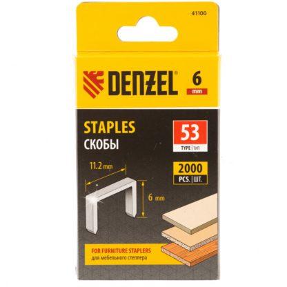 Скобы, 6 мм, для мебельного степлера, тип 53, 2000 шт. Denzel