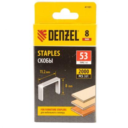 Скобы, 8 мм, для мебельного степлера, тип 53, 2000 шт. Denzel